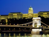 Royal Palace on Castle Hill at Night with Chain Bridge Below, Buda - Paolo Cordelli