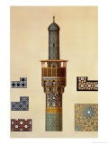 A Minaret and Ceramic Details from the Mosque of the Medrese-I-Shah-Hussein, Isfahan - Pascal Xavier Coste