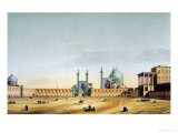 """The Royal Palace and the Mesdjid-I-Shah, Isfahan, Plate 6-7 from """"Modern Monuments of Persia"""" - Pascal Xavier Coste"""