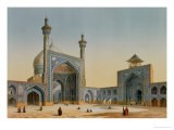 """View of the Courtyard of the Mesdjid-I-Shah, Isfahan, from """"Modern Monuments of Persia"""" - Pascal Xavier Coste"""