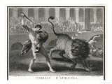 Ancient Rome Gladiators Fighting Lions in an Arena - Patas