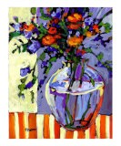 Flowers on a Striped Tablecloth - Patty Baker