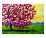 Pink Blossom Tree and Yellow Sky - Patty Baker