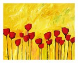 Red Flowers On Yellow - Patty Baker