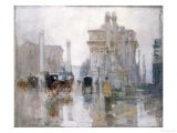 After the Rain, the Dewey Arch, Madison Square Park, New York - Paul Cornoyer
