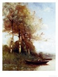 Morning Effect, Silver Birches and a River - Paul Desire Trouillebert