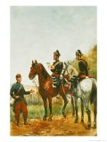 Police Officers on an Inspection Tour Checking a Serviceman in 1885 - Paul Emile Leon Perboyre