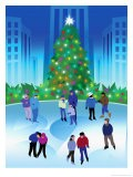 People Ice Skating by a Christmas Tree