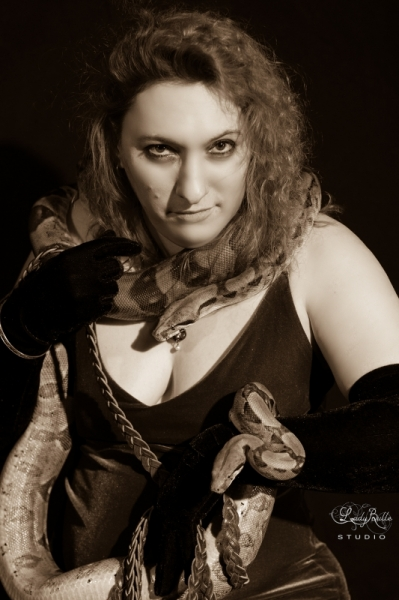 PHOTO Lady Snake Serpent  - The girl with the snake