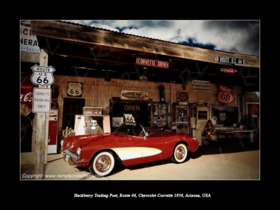 PHOTO Route 66 Corvette Hackberry Mother Road Scène de genre  - Route 66, Hackberry Trading Post