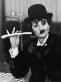 Comedien/Actress Lucille Ball imitating Charlie Chaplin on her New Year's TV show - Ralph Crane