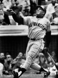 Baseball Player Willie Mays Watching Ball Clear Fence for Home Run in Game with Dodgers - Ralph Morse