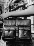 French Woman Carrying a Pocketbook Made of Leather, with a Long Shoulder Strap - Ralph Morse