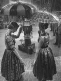"Models Demonstrating Umbrellas under Artificial Rain on TV Program ""Home"" - Ralph Morse"