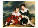 Portrait of Two Boys in Green and Red Velvet Suits - Ramsay Richard Reinagle