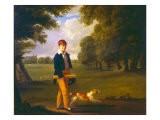 Young Man with a Cricket Bat Walking a Spaniel in the Grounds of Eton College - Ramsay Richard Reinagle