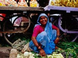 Woman Selling Vegetables at Gulmandi Road Bazaar, Aurangabad, Maharashtra, India - Richard I'Anson