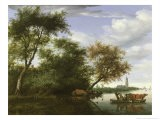 Wooded River Landscape with Figures and Cattle on a Ferryboat - Salomon van Ruisdael or Ruysdael