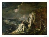 Rocky Landscape with a Huntsman and Warriors - Salvator Rosa