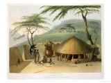 """A Boosh-Wannah Hut Plate 7 from """"African Scenery and Animals"""" - Samuel Daniell"""