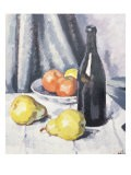 Apples, Pears and a Black Bottle on a Draped Table - Samuel John Peploe