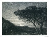 The Lonely Tower, from Il Penseroso, Night Sky with Moon Setting on the Horizon, 19th Century - Samuel Palmer