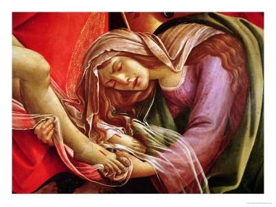 Sandro Botticelli - La lamentation sur le corps du Christ mort, détail de Marie-Madeleine et les pieds du Christ, 1490
