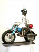 sculpture autres sculpture metal moto art brut art singulier : FREE RIDE