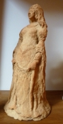 sculpture personnages damoiselle moyen age cathy continente gres roux : hermelinde