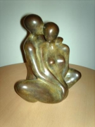 sculpture personnages etreinte couple bronze : Etreinte 2