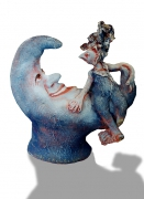 sculpture personnages lune moon conversation discussion : Lune bleue