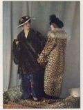 Short Wrap-Over Fur Coat and Flat Muff in a Dark Coloured Fur
