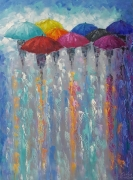 tableau abstrait abstraction abstrait parapluies la pluie : painting* Meet The New Day*