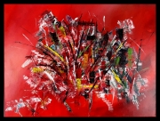 tableau abstrait abstrait rouge acrylique : Bouquet final