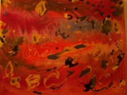 tableau abstrait anarchie rouge orange : Anarchie