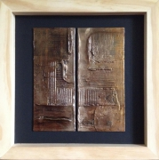 tableau abstrait engrenage matiere contemporain relief : Fracture #3