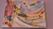 tableau abstrait eventail papillon printemps flamenco : flamenco