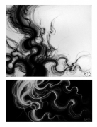 tableau abstrait fumee cheveux fantome vapeur : In the Hair