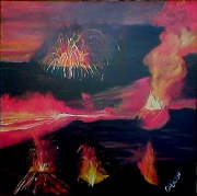 tableau abstrait la reunion volcan acrylique eruption : Volcan en éruption