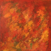 tableau abstrait marron rouge abstrait orange : Automne