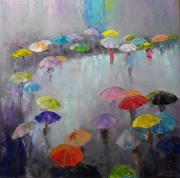 tableau abstrait parapluies parasols abstraction pluie : painting *To a meeting to each other*oil on canvas 80x80cm