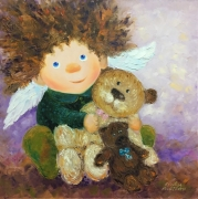 tableau animaux angel enfants : painting * Give the warmth and smiles * Oil on canvas 60x60 cm