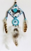 tableau animaux bison dreamcatcher plumes attrappeur de reves : Buffalo dream catcher