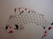tableau animaux carpe koi : big one