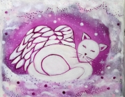 tableau animaux chat ange art naif pour enfant : Chat Ange