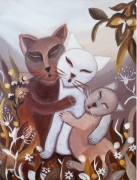 tableau animaux chat famille tendresse 3 chats : Chats Câlins