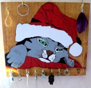 tableau animaux chat noel porte boucle o fetes : chat noel