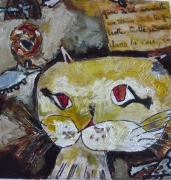 tableau animaux chat souris collage conte : vilain chat