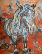 tableau animaux cheval animaux : L'HERBE ROUGE