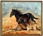 tableau animaux cheval galop sable : Galop